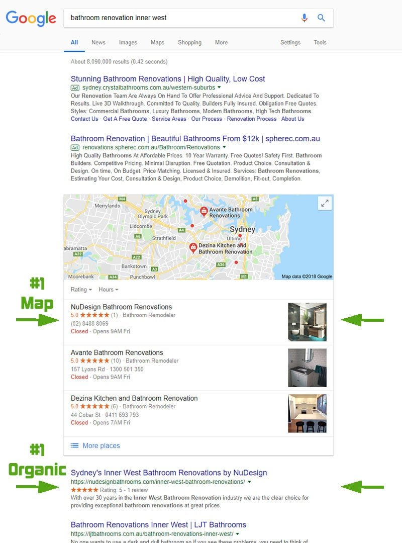"Google search results from ""bathroom renovations inner west"" search in Nov 2018"