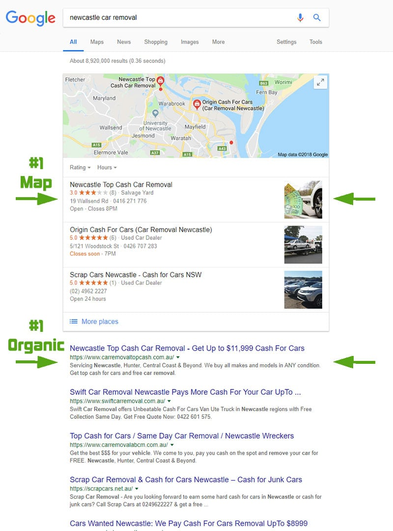 "Google search results from ""newcastle car removal"" search in Nov 2018"