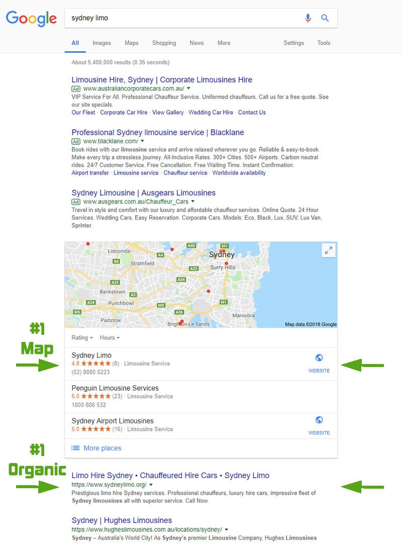 "Google search results from ""sydney limo"" search in Nov 2018"