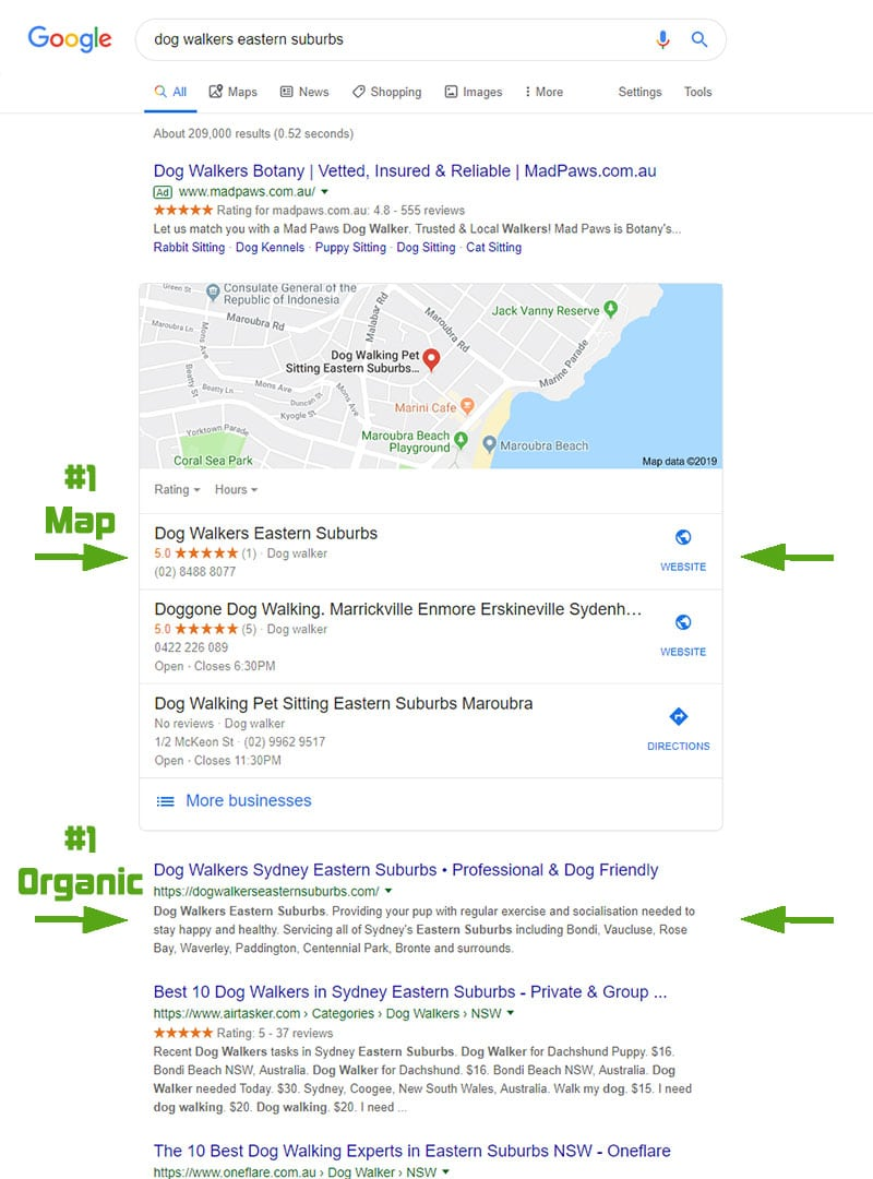 "Google search results from ""dog walkers eastern suburbs"" search in Aug 2019"